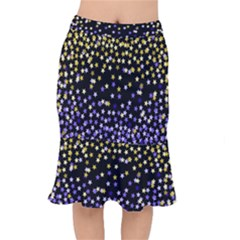 Space Star Light Gold Blue Beauty Black Mermaid Skirt by Mariart