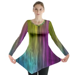 Rainbow Bubble Curtains Motion Background Space Long Sleeve Tunic  by Mariart