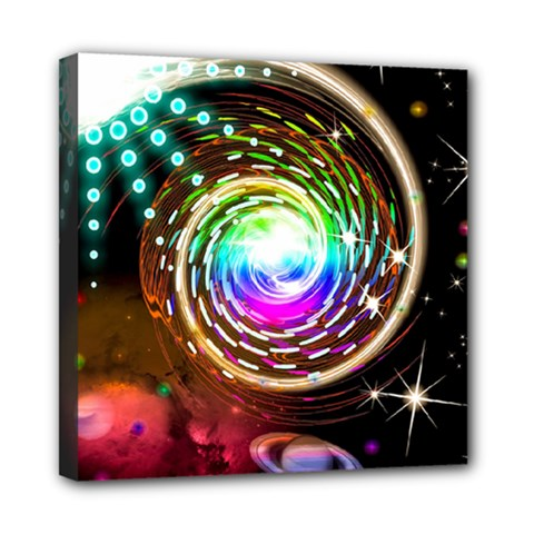 Space Star Planet Light Galaxy Moon Mini Canvas 8  X 8  by Mariart