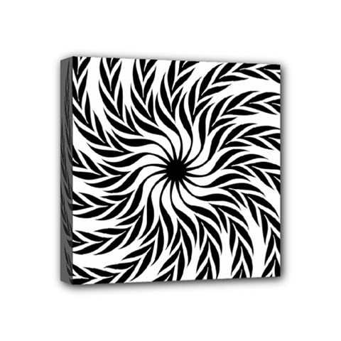 Spiral Leafy Black Floral Flower Star Hole Mini Canvas 4  X 4  by Mariart