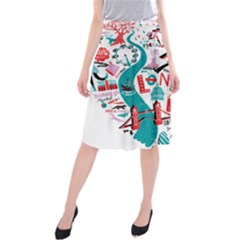 London Illustration City Midi Beach Skirt by Mariart