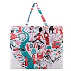 London Illustration City Zipper Large Tote Bag by Mariart