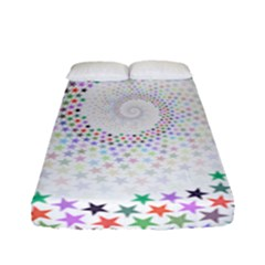 Prismatic Stars Whirlpool Circlr Rainbow Fitted Sheet (full/ Double Size) by Mariart