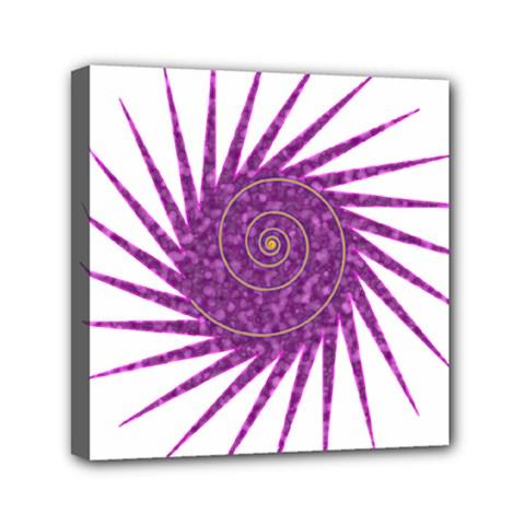 Spiral Purple Star Polka Mini Canvas 6  X 6  by Mariart