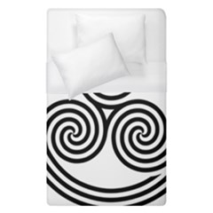 Triple Spiral Triskelion Black Duvet Cover (single Size) by Mariart