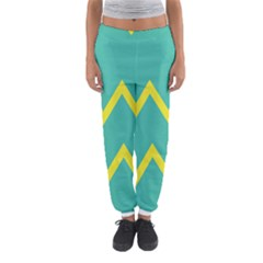 Waves Chevron Wave Green Yellow Sign Women s Jogger Sweatpants