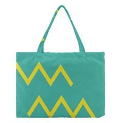 Waves Chevron Wave Green Yellow Sign Medium Tote Bag by Mariart