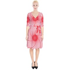 Spiral Red Polka Star Wrap Up Cocktail Dress