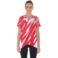 Valentines Day Heart Modern Red Polka Cut Out Side Drop Tee