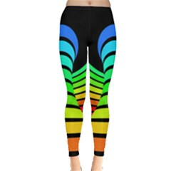Twisted Motion Rainbow Colors Line Wave Chevron Waves Leggings  by Mariart
