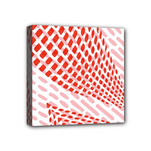 Waves Wave Learning Connection Polka Red Pink Chevron Mini Canvas 4  X 4  by Mariart