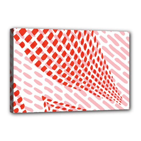 Waves Wave Learning Connection Polka Red Pink Chevron Canvas 18  X 12  by Mariart