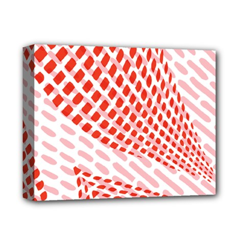 Waves Wave Learning Connection Polka Red Pink Chevron Deluxe Canvas 14  X 11  by Mariart