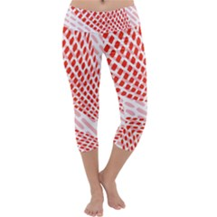 Waves Wave Learning Connection Polka Red Pink Chevron Capri Yoga Leggings by Mariart