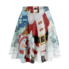 Funny Santa Claus With Snowman High Waist Skirt by FantasyWorld7