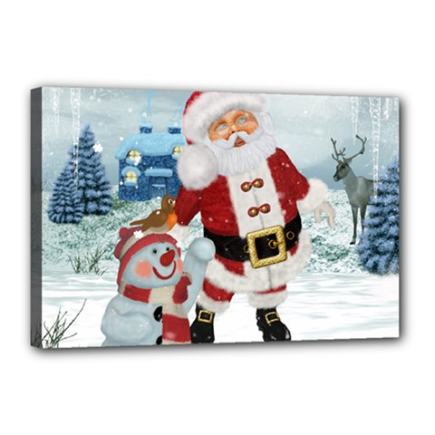 Funny Santa Claus With Snowman Canvas 18  X 12  by FantasyWorld7