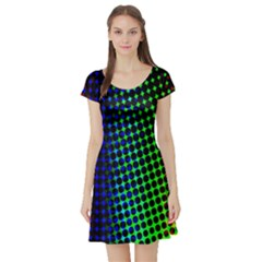 Digitally Created Halftone Dots Abstract Background Design Short Sleeve Skater Dress