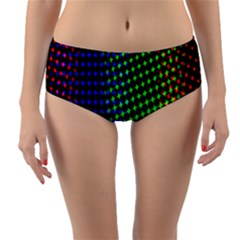 Digitally Created Halftone Dots Abstract Background Design Reversible Mid Waist Bikini Bottoms