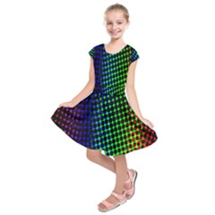 Digitally Created Halftone Dots Abstract Background Design Kids  Short Sleeve Dress