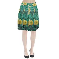 Yellow Flowers At Nature Pleated Skirt by dflcprints
