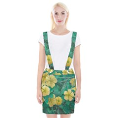 Yellow Flowers At Nature Braces Suspender Skirt by dflcprints