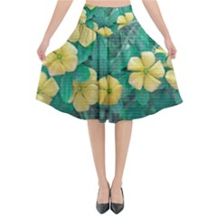 Yellow Flowers At Nature Flared Midi Skirt by dflcprints