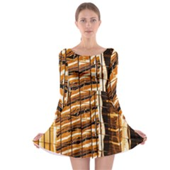 Abstract Architecture Background Long Sleeve Skater Dress