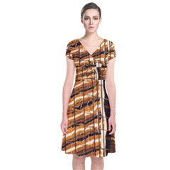 Abstract Architecture Background Short Sleeve Front Wrap Dress