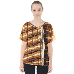 Abstract Architecture Background V Neck Dolman Drape Top