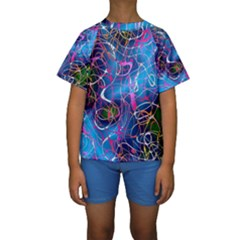 Background Chaos Mess Colorful Kids  Short Sleeve Swimwear