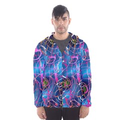 Background Chaos Mess Colorful Hooded Wind Breaker (men)
