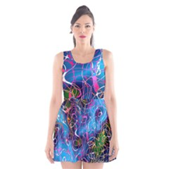 Background Chaos Mess Colorful Scoop Neck Skater Dress