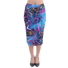 Background Chaos Mess Colorful Midi Pencil Skirt