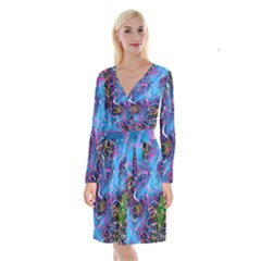Background Chaos Mess Colorful Long Sleeve Velvet Front Wrap Dress