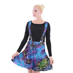 Background Chaos Mess Colorful Suspender Skater Skirt