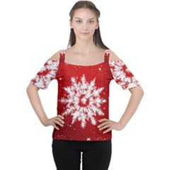 Background Christmas Star Cutout Shoulder Tee