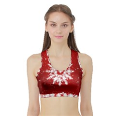 Background Christmas Star Sports Bra With Border