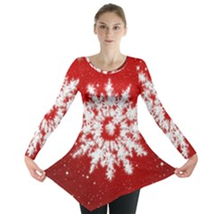 Background Christmas Star Long Sleeve Tunic