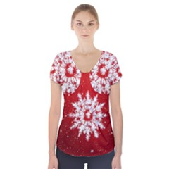 Background Christmas Star Short Sleeve Front Detail Top