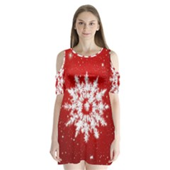 Background Christmas Star Shoulder Cutout Velvet  One Piece