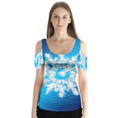 Background Christmas Star Butterfly Sleeve Cutout Tee