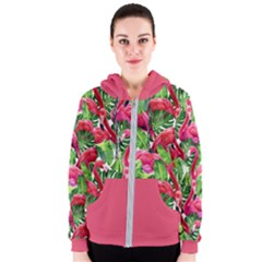 Palm Leaf Pattern Women s Zipper Hoodie by skyblue