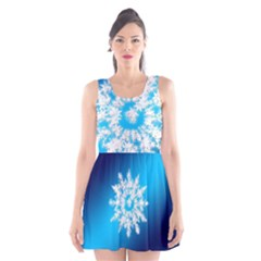Background Christmas Star Scoop Neck Skater Dress
