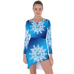Background Christmas Star Asymmetric Cut Out Shift Dress