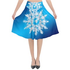 Background Christmas Star Flared Midi Skirt