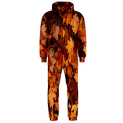 Fall Foliage Autumn Leaves October Hooded Jumpsuit (men)