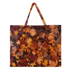 Fall Foliage Autumn Leaves October Zipper Large Tote Bag by Nexatart