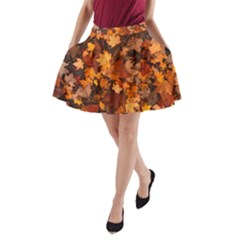 Fall Foliage Autumn Leaves October A Line Pocket Skirt by Nexatart
