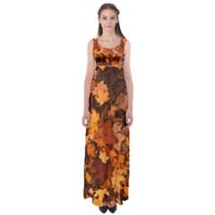 Fall Foliage Autumn Leaves October Empire Waist Maxi Dress