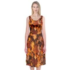 Fall Foliage Autumn Leaves October Midi Sleeveless Dress